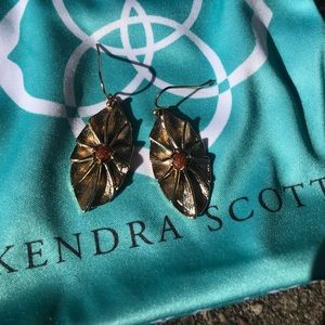 Kendra Scott Custom Goldstone leaf earring